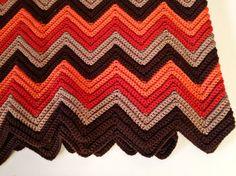 vintage handmade chevron crochet afghan - large - orange brown fall colors, $34.00