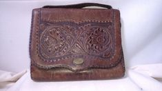 Antique Art Nouveau Hand Tooled Daffodil Floral Leather purse clutch Great   eBay