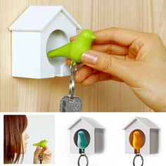 The Sparrow Key Holder is an adorable key ring with a wall-mountable birdhouse that will not only hold your keys safe in one spot, but will look super cute doing so!