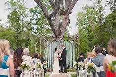 Blue and White Ribbon/Streamer Arbor and Ceremony Backdrop