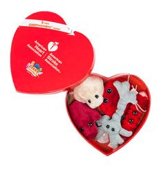 GIANTmicrobes Heart Box that contains dolls shaped as the cells in your body and provides a tag with an explanation of the cell's role