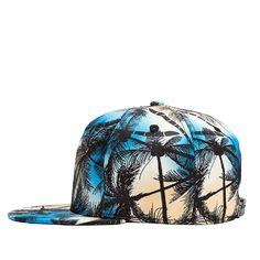 f29243de Vintage Coconut Tree Print Fitted Flat Bill Hats Cool Snapback Hip Hop Cap  - Blue - CS12JMWVIYF