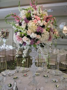 Lovely tall flower centerpieces!