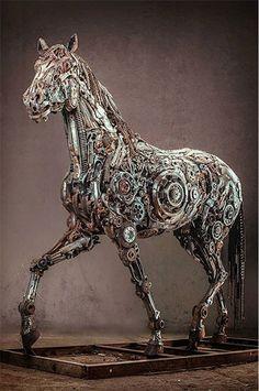 Steampunk art - wonderful stuff! - By Iranian artist, Hasan Novrozi http://nerdapproved.com/misc-weirdness/scraps-of-metal-are-transformed-into-a-magical-steampunk-pegasus/