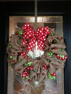 Christmas Burlap Wreath -Red and Green ribbon by GraceRyanBoutique
