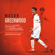 Mason Greenwood, the youngest Man Utd player to play in the Champions League! Manchester United Wallpaper, Man United, Champions League, Football Team, The Man, The Unit, Seasons, Play, Sport