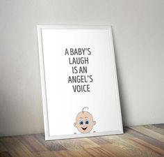 A baby's laugh is an angel's voice neutral by OrangeKiteLabs Toddler Art, Nursery Neutral, Typography Prints, Nursery Decor, The Voice, Illustration Art, Angel, Digital, Handmade Gifts