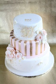 Pink, White and Gold - Cake by guiltdesserts
