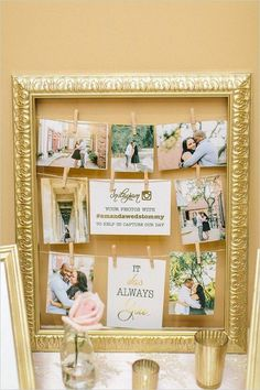 vintage gold frame wedding photo display // http://www.deerpearlflowers.com/vintage-frames-wedding-decor-ideas/