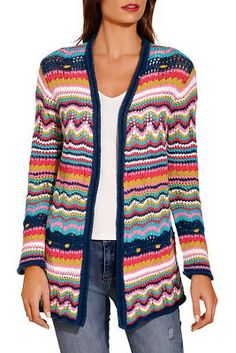 Top off any ensemble with this colorful stripe, open crochet cardigan. Perfect for travel or window-shopping weekends. Cotton I Crochet Poncho Patterns, Crochet Jacket, Crochet Cardigan, Crochet Shawl, Knitting Patterns, Knit Crochet, Shrug For Dresses, Casual Skirt Outfits, Knitting Wool