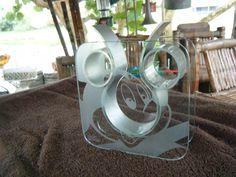 ETCHED MICKEY MOUSE GLASS AND ALUMINUM VASE VESSEL DISNEY