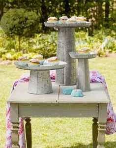 Love anything galvanized and cake stands