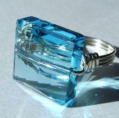 Aquamarine Swarovski Crystal and Sterling Silver Ring