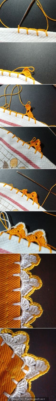 Another corcheted edging on fabric ~~