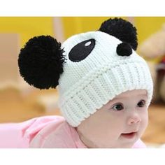 Cheap winter hat types, Buy Quality warm winter hats for women directly from China winter hat for baby Suppliers: Warm Toddlers Newborn Baby Hats Cute Cartoon Panda Ball Knitted Hat Beanie Cap Winter Hat Knit Beanie Hat, Crochet Beanie, Crochet Baby, Knit Crochet, Knitted Baby, Knitted Hats Kids, Kids Hats, Baby Winter Hats, Baby Hats