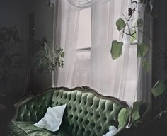 white T design | laboratory22: Jere Aalto-Green tufted leather/vines/airy white curtains