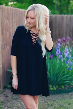 Nicole Polson black lace up dress from Pink Door Boutique nicolepolson.com