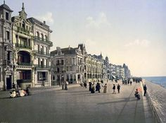 The embankment, Ostend, Belgium ~~  Here for your browsing pleasure is a grand photo of The embankment, Ostend, Belgium. This color photochrome print was made between 1890 and 1900 in Ostend, Belgium.