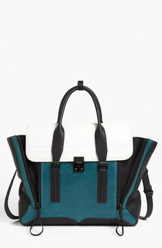 This teal Philip Lim satchel is perfect for work. Love it!