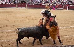 Durante el primer tercio, los picadores pican el toro con la lanza. Los hombros montó el caballo con armadura.