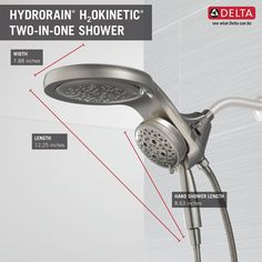 HydroRain® H2Okinetic® 5-Setting Two-in-One Shower Head 58680-SS | Delta Faucet Shower Arm, Hand Held Shower, Shower Faucet, Large Shower Heads, Dual Shower Heads, Small Guest Rooms, Shower Together, Shower Units, Shower Panels