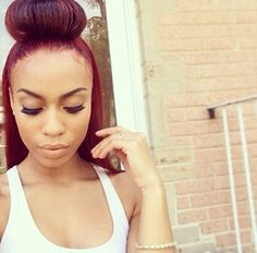 K Michelle Red Hair Bun Colors, Make a video and Half bun on Pinterest