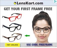 Free Eye-Frame | Get Your First Frame Free   Get discount coupon at http://www.couponskart.net/lenskart-coupons