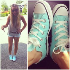 Light Turquoise Chucks! (something blue for a wedding???) make custom Chucks at http://www.converse.com/#/products/shoes/converseone/builder/chuTayOxCan1010,,,,  the color can be Blue Curacao or Aruba Blue    or you can DIY with white Chucks or even any canvas shoes!!!