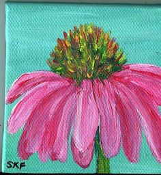 Echinacea Original painting on canvas with mini by SharonFosterArt, $18.00