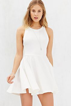Kimchi Blue Textured Knit High-Neck Skater Dress - Urban Outfitters