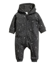All-in-one suit in soft, patterned sweatshirt fabric with a jersey-lined hood, zip down the front that continues down one leg, and ribbing at the cuffs and Baby Outfits, Kids Outfits, Baby Clothes Patterns, Baby Kids Clothes, Baby Boy Fashion, Kids Fashion, Gothic Baby, Baby Overalls, Gender Neutral Baby Clothes