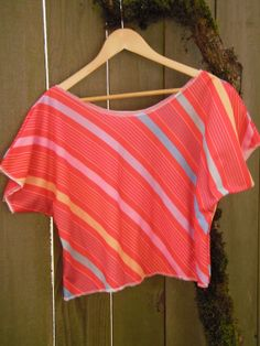 Funky Color Block Stripe Blouse/ Half Shirt/ by FuriousDesigns, $45.00