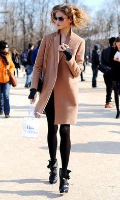 Anna Selezneva in Celine camel coat