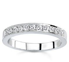 Platinum Milgrain Pave-Set Diamond Band (G/VS2, 1/4 ct. tw.)  http://electmejewellery.com/jewelry/rings/platinum-milgrain-paveset-diamond-band-gvs2-14-ct-tw-com/
