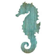 "Suzanne Nicoll's coastal silhouette of a seahorse printed directly to a distressed wood panel that has knots and other imperfections. We end up printing right over these imperfections which gives each panel interesting texture and character. No two are the same! Often people ask us ""Are these hand painted originals?"" <br /> <br /> Color: Aqua <br />%2..."