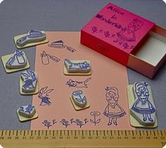 """Memi The Rainbow: Waiting for """"Alice in Wonderland"""" by Tim Burton... Hand-Carved rubber stamps, set of 7"""