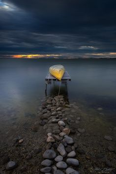 "letslookingattheworldstuff: ""Canoes sunrise by Julien Delaval """
