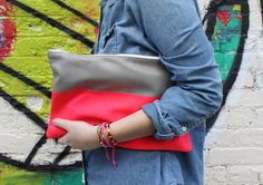 Neon Color Block Leather Clutch, $125