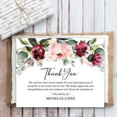 Floral Bereavement Funeral Cards, customized with your wording to send to loved ones following a funeral, memorial service or life celebration event