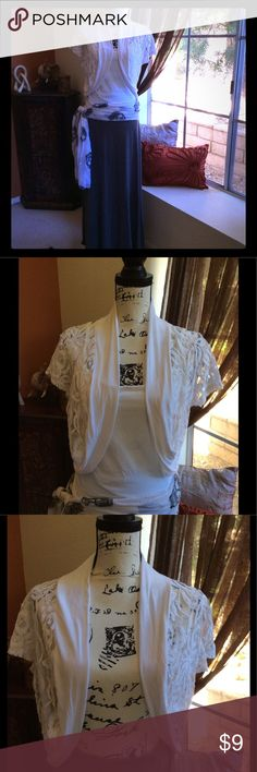 Lace Shrug Rue21 white lace shrug, white cotton trimmed, Size XL, GU, good condition 95% Rayon/5% Spandex Rue21 Sweaters Shrugs & Ponchos