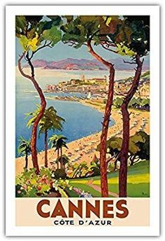 Pacifica Island Art Cannes - Côte d'Azur, France - French Riviera - Vintage World Travel Poster by Lucien Peri - Master Art Print - x Vintage French Posters, Vintage Travel Posters, French Vintage, Vintage Art, Vintage Style, Art Deco Posters, Poster Prints, Art Prints, Retro Poster