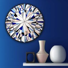 """Forever Twilight (Blue)"" Handmade Round Mosaic Mirror – Wall Art by Mirror Envy"