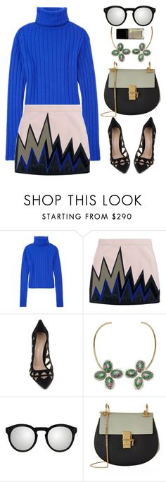 """""""Emilio Puccini mini skirt"""" by thestyleartisan ❤ liked on Polyvore featuring DKNY, Emilio Pucci, Gianvito Rossi, Anndra Neen, Illesteva and Chloé"""