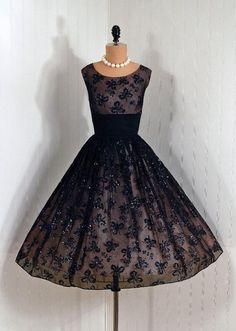 1950's Glitter Flocked Floral Chiffon Cocktail Dress