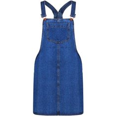 Boohoo Blue Laura Pinafore Skater Style Denim Dress (1,610 DOP) ❤ liked on Polyvore featuring dresses, blue skater dress, blue cami, bodycon dress, holiday dresses and special occasion dresses
