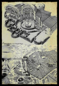 Baths of Hercules at Mediolanum and an aerial view of the city as seen from the south. Imperial Palace, Roman History, Ancient Architecture, Ancient Rome, Roman Empire, Romans, Milan, Architectural Drawings, Hercules