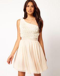 Little Mistress Applique One Shoulder Dress    God i love this, is it too fancy for my shower???