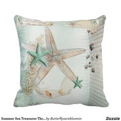 Summer Sea Treasures Woven Throw Pillow by debiydo - CafePress Decorative Pillow Cases, Throw Pillow Cases, Pillow Covers, Cushion Pillow, Round Sofa, Thing 1, Just For You, Starfish, Seashells