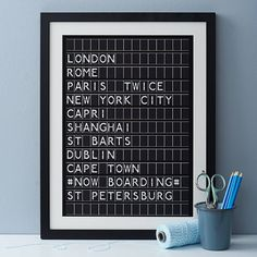 """personalised airport destination board  Make departure board for tabel seating? E.G. """"Now departing ... Paris / Budapest / Phuket etc"""" and have guest seats underneath title."""