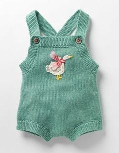 Festive Knitted Playsuit (Csarite Green Goose)